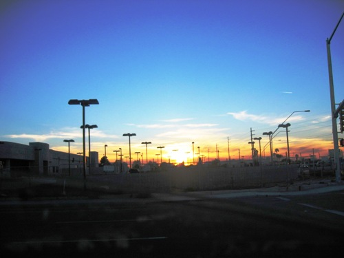 Sunset over the Jim Click parking lot