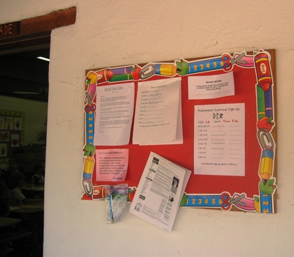 bulletin board, St. Michael's Day School