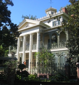 The famous front of the Haunted Mansion.  Spot the 50!